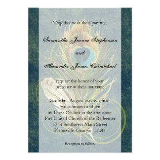 Deep Teal Peacock Feather Wedding Invitations
