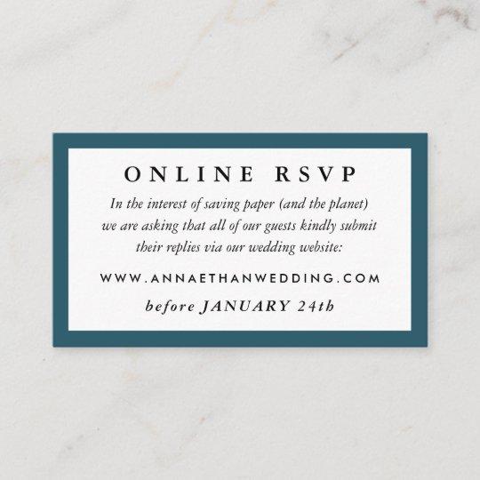 Deep Teal Wedding Online Rsvp Card