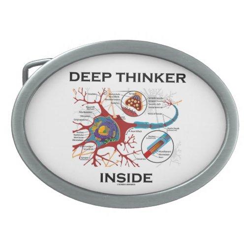 Deep Thinker Inside (Neuron / Synapse) Oval Belt Buckle