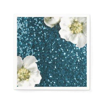 McTiffany Tiffany Aqua Deep Tiffany Aquatic Beach Jasmine Glitter Sequin Paper Napkin