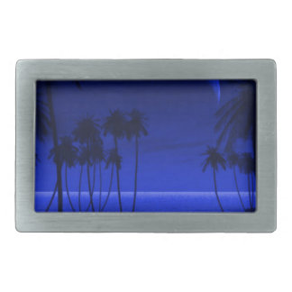DEEP TROPICAL BLUE GOODNIGHT PALM TREES OCEAN MOON BELT BUCKLES