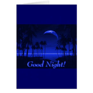 DEEP TROPICAL BLUE GOODNIGHT PALM TREES OCEAN MOON CARD