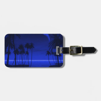 DEEP TROPICAL BLUE GOODNIGHT PALM TREES OCEAN MOON LUGGAGE TAGS