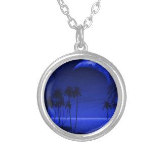 DEEP TROPICAL BLUE GOODNIGHT PALM TREES OCEAN MOON PENDANTS