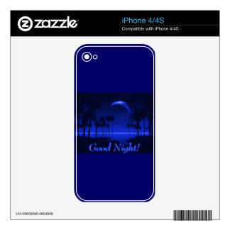 DEEP TROPICAL BLUE GOODNIGHT PALM TREES OCEAN MOON SKIN FOR iPhone 4