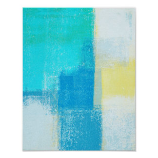 'Deep' Turquoise Abstract Art Painting Poster