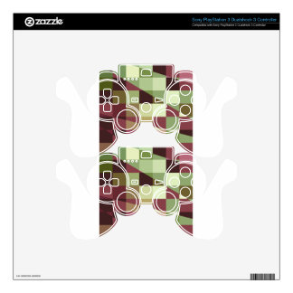 Deep Tuscan Red Purple and Green Abstract Low Poly Decal For PS3 Controller