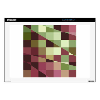 """Deep Tuscan Red Purple and Green Abstract Low Poly Decals For 17"""" Laptops"""