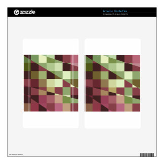 Deep Tuscan Red Purple and Green Abstract Low Poly Decals For Kindle Fire