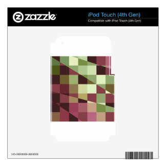 Deep Tuscan Red Purple and Green Abstract Low Poly iPod Touch 4G Decals