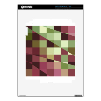 Deep Tuscan Red Purple and Green Abstract Low Poly Skins For iPad 2