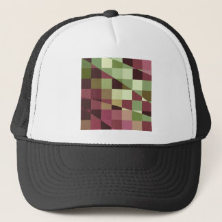 Deep Tuscan Red Purple and Green Abstract Low Poly Trucker Hat