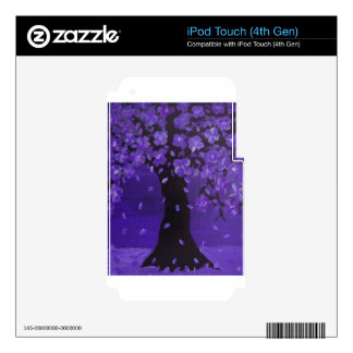Deep Violet Blue Blossoming Tree Design Art iPod Touch 4G Decal