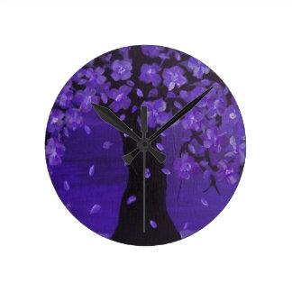 Deep Violet Blue Blossoming Tree Design Art Round Wall Clock