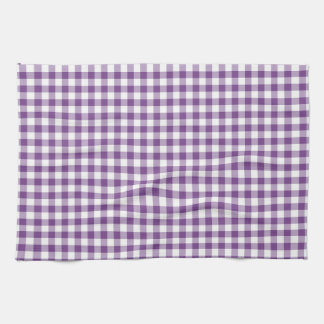 Deep Violet Purple and White Gingham Pattern Hand Towels