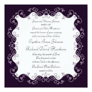 Deep Violet Purple Square Wedding Invitations