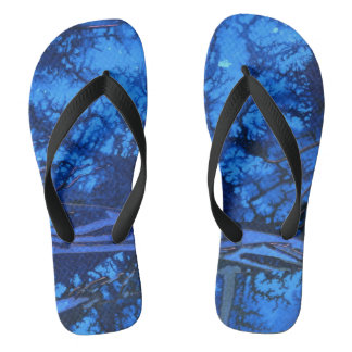 Deep Water cool color abstract design flip flops. Flip Flops