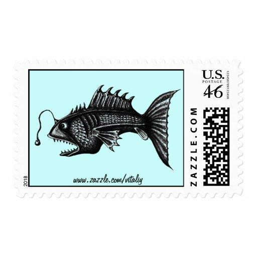 Deep water fish pen ink drawing art stamp design