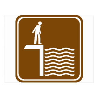 Deep Water Warning Highway Sign Postcard