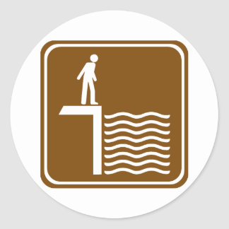 Deep Water Warning Highway Sign Stickers