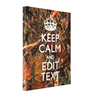 Deep Woods Camouflage Keep Calm Your Text! Gallery Wrapped Canvas