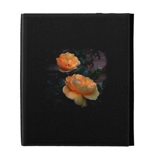 Deep Yellow - Orange Roses, on Black. iPad Folio Covers