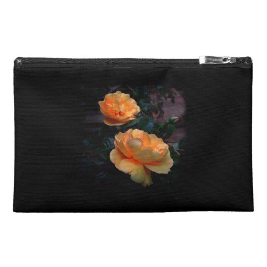 Deep Yellow - Orange Roses, on Black. Travel Accessory Bag