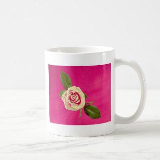 Deep Yellow Rose On Deep Pink Background Coffee Mug