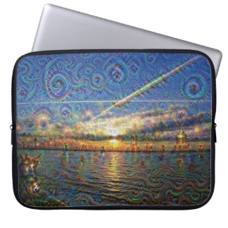 DeepDream Pictures, Sunrise at lake Computer Sleeve