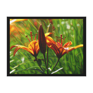DeepDream style, Orange Lilly Canvas Print