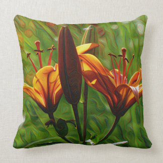 DeepDream style, Orange Lilly Pillow