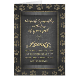 Deepest Sympathy Pet Loss Black & Gold Paw Print Card