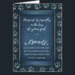 """Deepest Sympathy Pet Loss  Blue &amp; Gold Paw Prints Card<br><div class=""""desc"""">Deepest Sympathy Pet Loss  Blue &amp; Gold Paw Prints Art &amp; Design by Julie Alvarez</div>"""