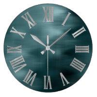 DeepTeal Silver Gray Minimal Metallic Roman Numers Large Clock