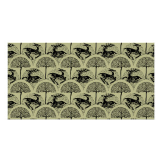 Deer Amongst The Trees, patterned print Poster