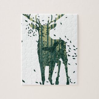Deer and Abstract Forest Landscape Jigsaw Puzzle