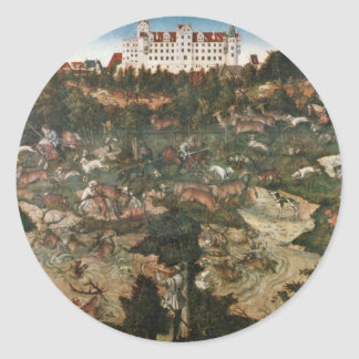 Deer And Boar Hunting By Cranach D. Ä. Lucas (Best Round Sticker