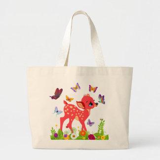 Deer and Butterflies Custom Large Tote Bag