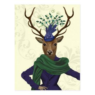 Deer and Fascinator 2 Postcard