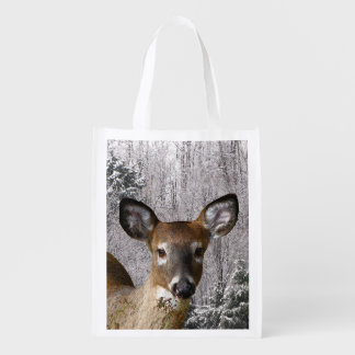 Deer and Frosty Hills Reusable Grocery Bag