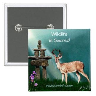 Deer and Inukshuk Wildlife Scene Pinback Button