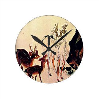 Deer and Mountain Goat Japanese Woodblock Art Round Clocks