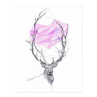 Deer and pink geometric heart drawing Postcard