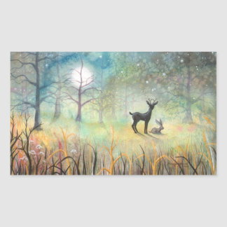 Deer and Rabbit Fantasy Wildlife Art Rectangular Sticker