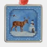 Deer and Snowman Christmas Square Metal Christmas Ornament