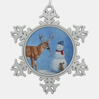 Deer and Snowman Christmas Snowflake Pewter Christmas Ornament