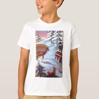 Deer and squirrel snow scene T-Shirt