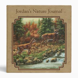 Deer and Stream Waterfall Tan Binder