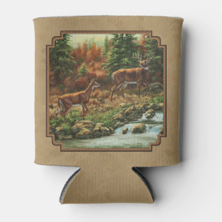 Deer and Stream Waterfall Tan Can Cooler