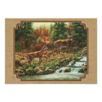 Deer and Stream Waterfall Tan Card